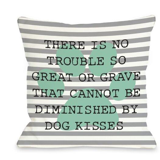 One Bella Casa Doggy Décor No Trouble Dog Kisses Stripe Paw Pillow