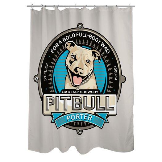 One Bella Casa Doggy Decor Pitbull Porter Polyester Shower Curtain