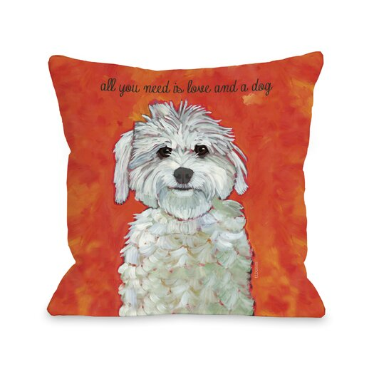 One Bella Casa Doggy Décor Love & A Dog Pillow