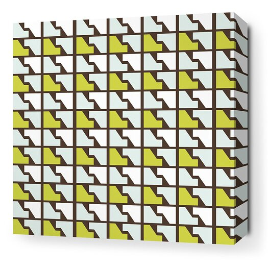Inhabit Estrella Faux Houndstooth Stretched Graphic Art on Canvas in Grass