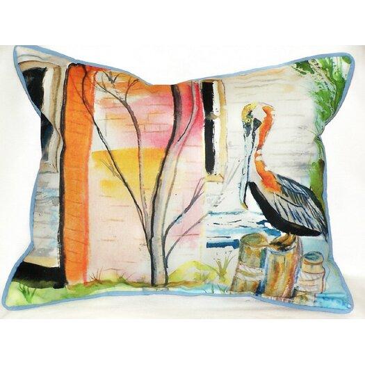 Betsy Drake Interiors Coastal Pelican Indoor / Outdoor Rectangular Pillow