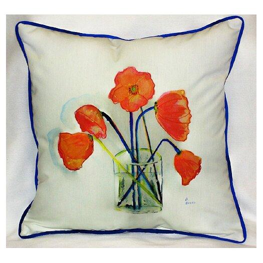 Betsy Drake Interiors Garden Poppies in Vase Indoor / Outdoor Pillow
