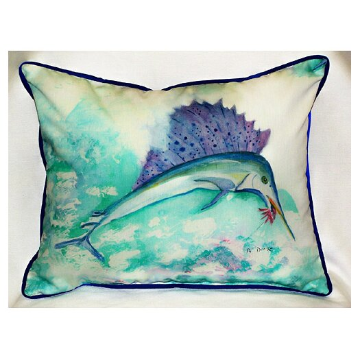 Betsy Drake Interiors Coastal Sailfish Indoor / Outdoor Pillow