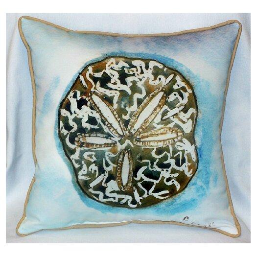 Betsy Drake Interiors Coastal Sand Dollar Indoor / Outdoor Pillow