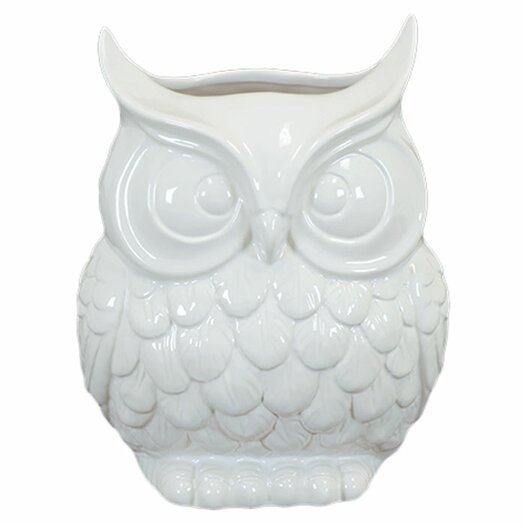 Urban Trends Ceramic Owl Vase Gloss White