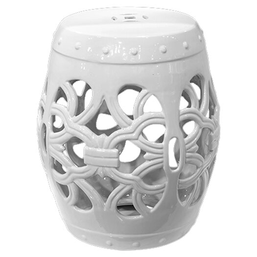 Urban Trends Ceramic Garden Stool with Knotted Design Gloss Jade