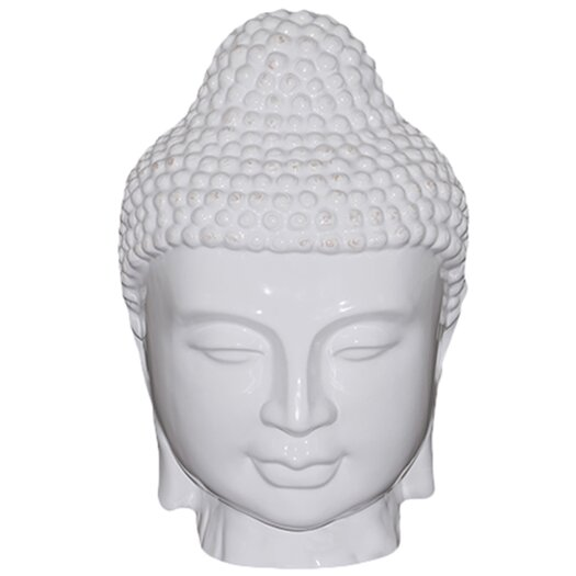 Urban Trends Ceramic Buddha Head Gloss White