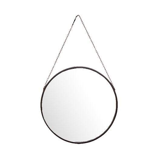 Urban Trends Metal Mirror Round with Chain Hanger Black