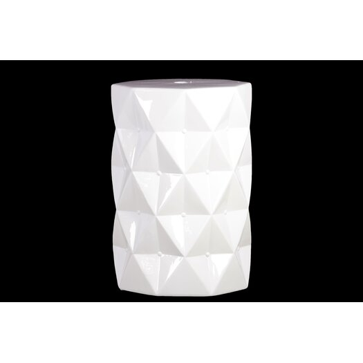 Urban Trends Ceramic Stool with Polyiamond Design Gloss Amber