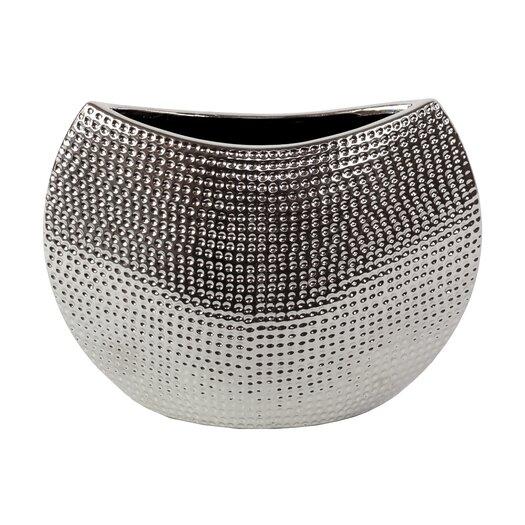 Urban Trends Ceramic Vase in Chrome Silver