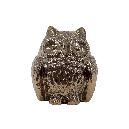 Urban Trends Ceramic Owl Decor Metallic Gold