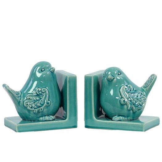 Urban Trends Ceramic Bird Bookend Gloss Turquoise