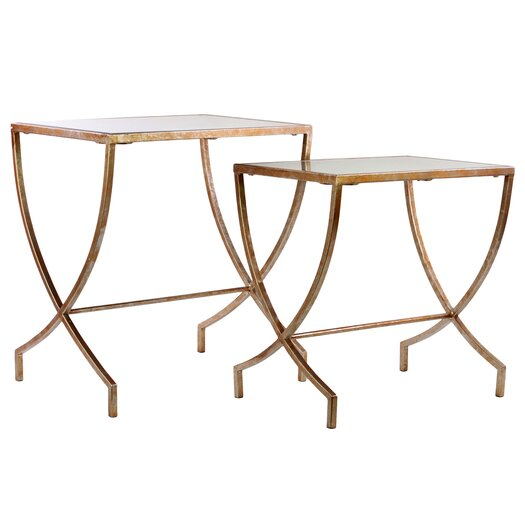 Urban Trends Metal Table with Rectangular Mirror Top Set of Two Tarnished Gold