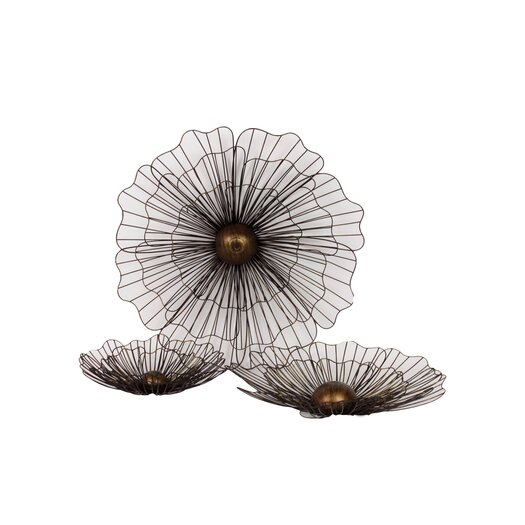 Urban Trends 3 Piece Home and Garden Accents Metal Flowers Wall Décor Set