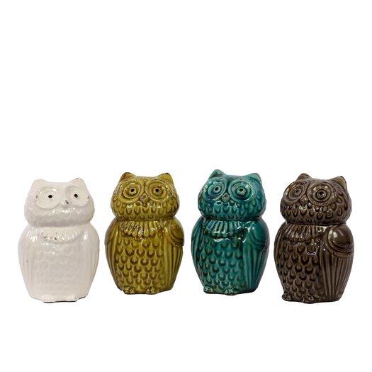 Urban Trends Ceramic Owl Four Piece Figurine Set