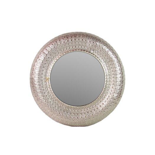 Urban Trends Metal Round Wall Mirror Pierced Metal Silver