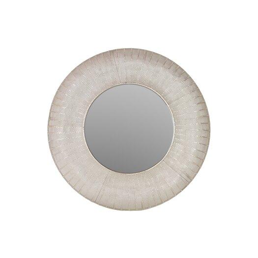 Urban Trends Metal Round Wall Mirror Pierced Metal Satin Silver