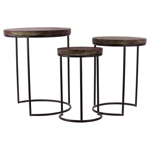 Urban Trends Wooden Metal Table Set of Three