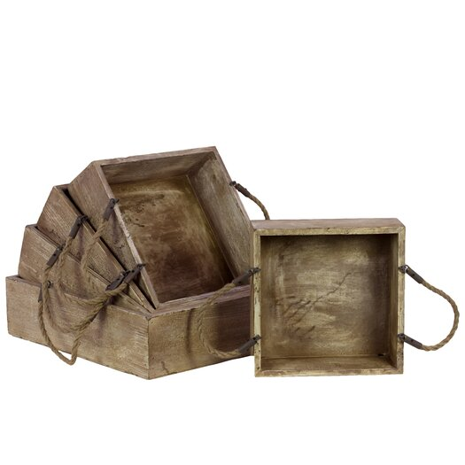 Urban Trends Home and Garden Accents 5 Piece Wooden Serving Tray Set
