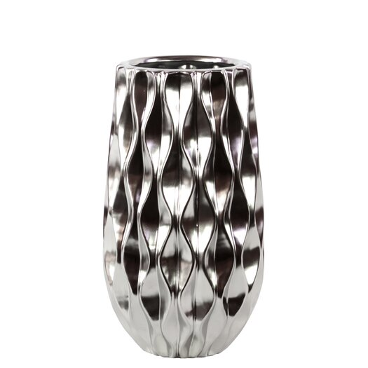 Urban Trends Ceramic Vase with Embossed Wave Design SM Polished Chrome Silver