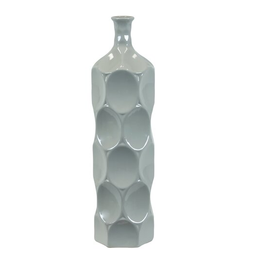 Urban Trends Ceramic Bottle Vase LG Dimpled Gloss Steel Blue