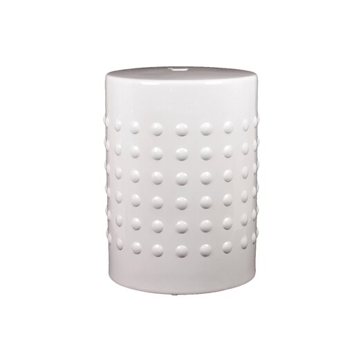 Urban Trends Ceramic Stool Pimpled Gloss Red