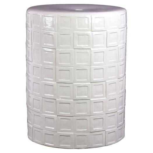 Urban Trends Ceramic Garden Stool with Embossed Pattern Design Gloss Amber