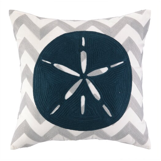 Peking Handicraft Nautical Embroidery Sand Dollar Pillow