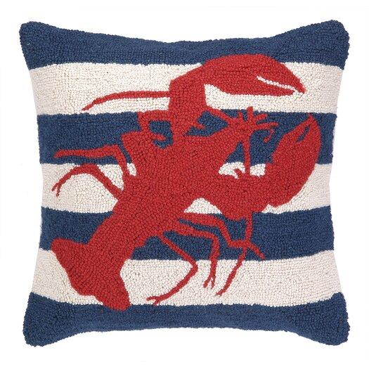 Peking Handicraft Nautical Hook lobster Stripe Pillow