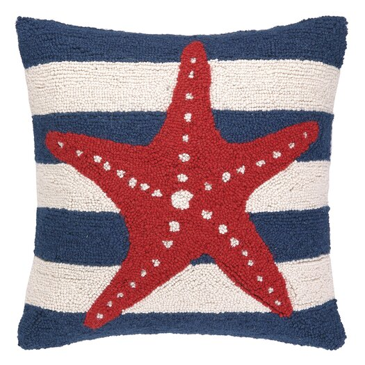Peking Handicraft Nautical Hook Seastar Stripe Pillow