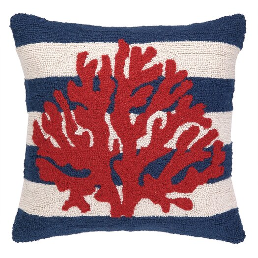 Peking Handicraft Nautical Hook Coral Stripe Pillow
