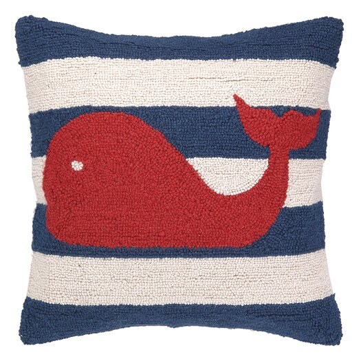 Peking Handicraft Nautical Hook Whale Stripe Pillow