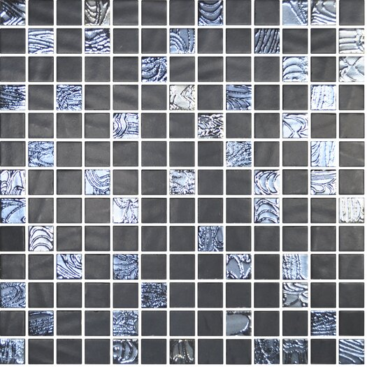 "Onix USA Nature Blends 1"" x 1"" Glass Matte and Textured Mosaic in Upsala Black"