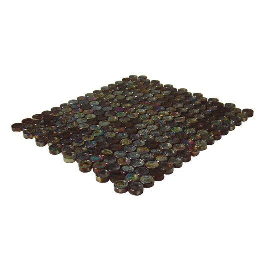 Onix USA Geo Glass Circle Glass Mosaic in Brown