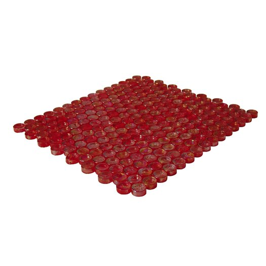 Onix USA Geo Circle Glass Frosted Mosaic in Red