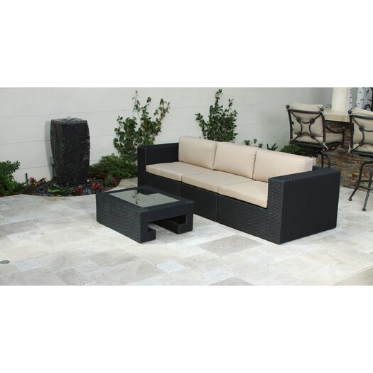 Home Loft Concept Malaga Outdoor 3 Piece Seating Group in Black with Cushions