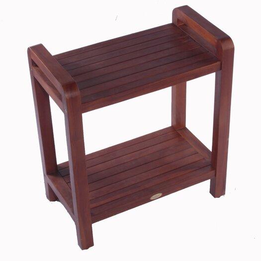 Decoteak Outdoor Teak Ergonomic Bench Storage Shelf or Table