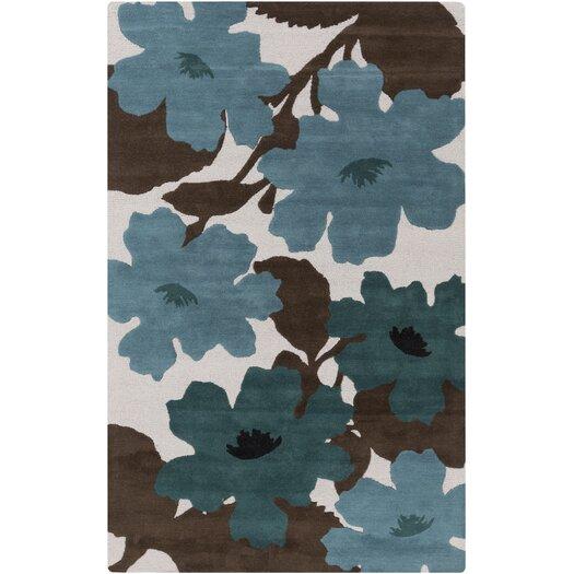 Teal Floral Area Rug: Jef Designs Organic Modern Chocolate/Teal Floral Area Rug
