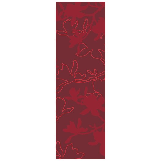 Jef Designs Magnolia Red Area Rug