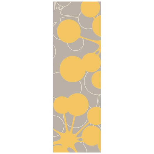 Jef Designs Organic Modern Bubble Gray/Yellow Area Rug