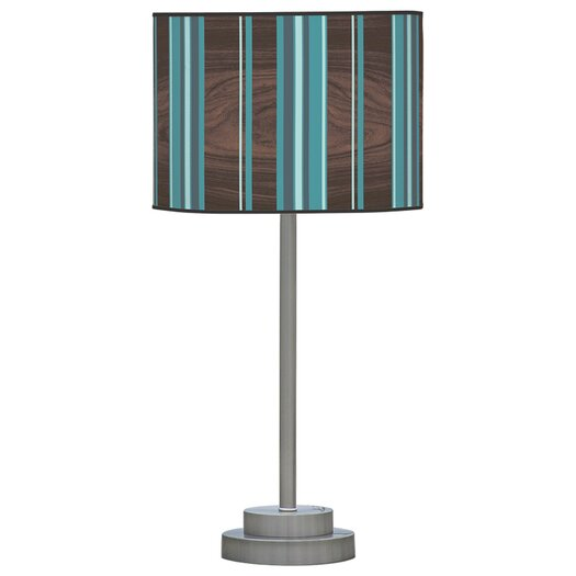 "Jef Designs Organic Modern Vertical Stripes Stem 24"" H Table Lamp with Drum Shade"
