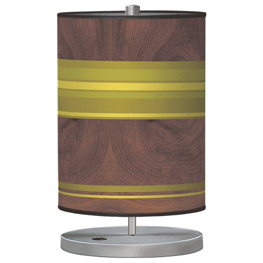 "Jef Designs Organic Modern Horizontal Stripes Cylinder 21"" H Table Lamp with Drum Shade"