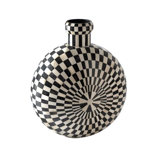 Lazy Susan USA Checkered Horn and Bone Vase