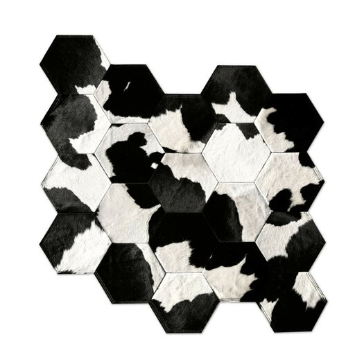 Pure Rugs Patchwork Cowhide Japanese Black/Gray Area Rug