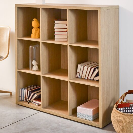 Bestar Clic Furniture 3 Row and 3 Column Thick Framed Open Cabinet