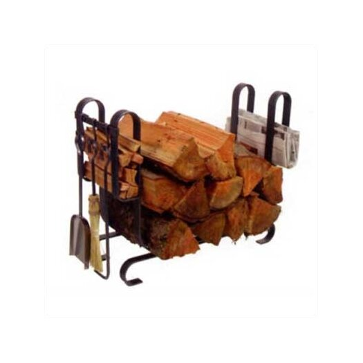 Enclume Large Modern 3 Piece Steel Fireplace Tool Set with Log Rack