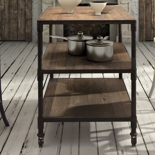 Zuo Era Mission Bay Prep Table with Wood Top