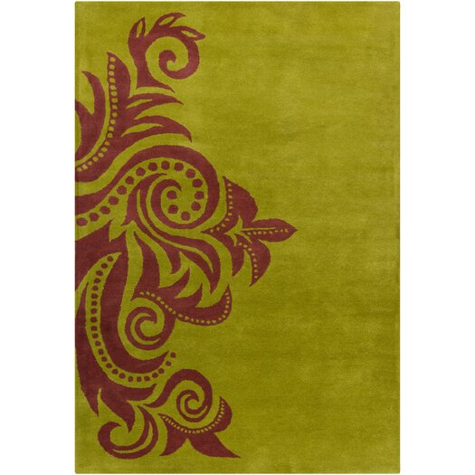 Filament  LLC Cinzia Green / Red Abstract Area Rug