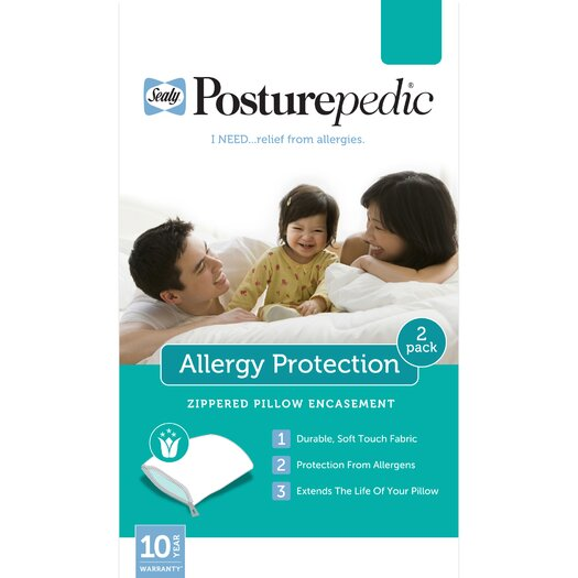 Sealy Posturepedic Allergy Protection Zippered Pillow Encasements