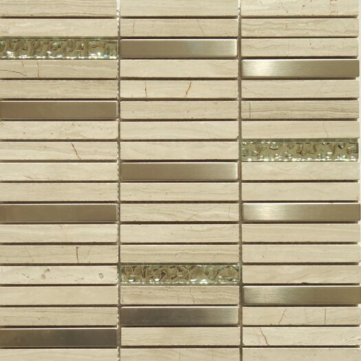 Faber Fusion Series Mixed Metal Glass Marble Mosaic in Multi